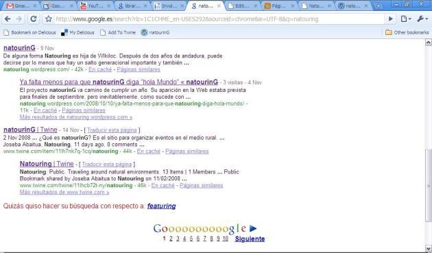Twine de natourinG en Google