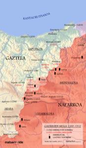 La frontera de malhechores (ss XIII-XV). (Mapa de Nabarlur)